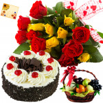 Approved of Joy - 12 Red and Yellow Roses Bunch, 1/2 Kg  Cake, 1 Kg Fruit Basket + Card