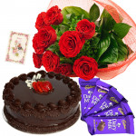 What a Gift - 12 Red Roses Bunch, 1/2 Kg Cake, 5 Cadbury Dairymilk + Card