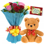 Mix with Bear - 10 Mixed Roses Bunch, Teddy 6 inch + Card