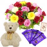 "Twenty Tokens - 20 Mix Roses Basket + 6"" Teddy + 5 Dairy Milk + Card"