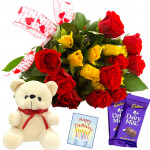 "Heartful Gift - 20 Red & Yellow Roses + Teddy 6"" + 2 Dairy Milk + Card"