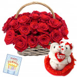 Roses & Couple - 20 Red Roses Basket + Couple Teddy with Heart + Card