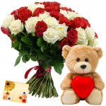 Red N Pink Bear - 12 Red & White Roses Bunch, Teddy 6 inch with Heart + Card