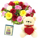 """Popular - Basket 20 Mix Roses + 6"""" Teddy with Heart + Card"""