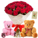 Teddy & Roses - 18 Red Roses Bouquet + 2 Teddy 6 inch + Card
