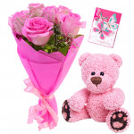 Pink N Soft - 6 Pink Roses Bunch, Teddy 6 inch + Card