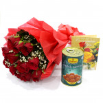 Red Bunch Gulab - 12 Red Roses Bunch, Gulab Jamun 500 gms & Card
