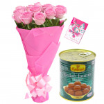 Pink Bunch N Sweets - 12 Pink Roses Bunch, Gulab Jamun 500 gms & Card