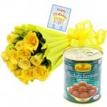 Pink Bunch Sweet Tin - 12 Yellow Roses Bunch, Gulab Jamun 500 gms & Card