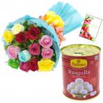 Mix Rose Rasgulla - 12 Mix Roses Bunch, Rasgulla 500 gms & Card