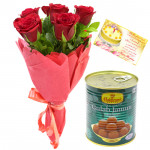 Red Seasonal Sweets - 6 Red Roses Bunch, Gulab Jamun 500 gms & Card