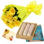 Yellow Katli Delight - 12 Yellow Roses Bunch, Kaju Katli 250 gms & Card