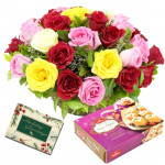 Miraculous - Basket 15 Mix Roses + Soan Papdi Box 250 Gms + Card