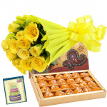 Stunning Choice - 15 Yellow Roses Bouquet + 250 Gms Motichur Ladoo + Card