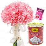 Bunch of Sweets - 10 Pink Carnation Bunch, Rasgulla 500 gms & Card