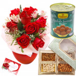 Seasonal Gulla Assortment - 8 Red Roses Vase, Gulab Jamun 500 gms, Assorted Dry fruits Box 200 gms & Card