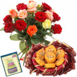 Wonderful Present - Bouquet Of 12 Multi Color Roses + Kesar Pedas 250 Gms  + Card