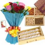 Outstanding Gifts - 15 Mix Roses + Kaju Katli 250 gms + Assorted Dry Fruits 200 gms in Box + Card