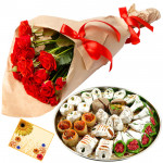 Red Flower Mix - 12 Red Roses Bunch, Kaju Mix 250 gms & Card