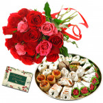 Red N Pink Mix - 15 Red & Pink Roses Bunch, Kaju Mix 250 gms & Card