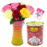 Rose N Rasgulla - 12 Multi Color Roses in Vase, Rasgullas 500 Gms & Card