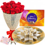 Extraordinary Arrangement - Bouquet 15 Red Roses + Kaju Katli Box 250 Gms + Cadbury Celebration  + Card