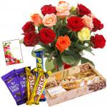 Mix Rose Choco - 12 Mix Roses Bunch, Kaju Mix 250 gms, 5 Assorted Bars & Card