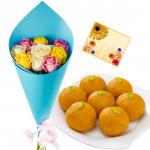 Multi Moti Laddoo - 10 Multi Color Roses Bunch, Motichoor Ladoos 250 gms & Card