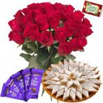 Rose Katli Choco - 15 Red Roses Bunch, Kaju Katli 250 gms, 5 Dairy Milk 14 gms each & Card