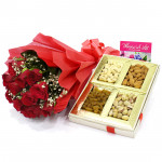 Magic of Red - 12 Red Roses Bunch, Assorted Dryfruits in Box 200 gms & Card