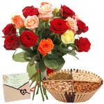 Happiness Enclosed - Bunch of 10 Mix Roses, Assorted Dryfruits in Basket 200 gms & Card