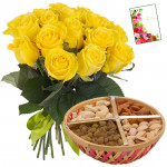 Rose Nutty Combo - 12 Yellow Roses, Assorted Dryfruit Basket 200 gms & Card