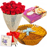 Ideal Feast - 12 Red Roses Bunch, Assorted Dryfruits in Basket 200 gms, Soan Papdi 250 gms & Card