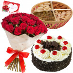 Hampers with Sentiments - 10 Red Roses Bunch, Assorted Dryfruits in Basket 200 gms, Blackforest Cake 1/2 Kg & Card