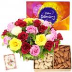 Flowers Celebration - Basket of 15 Mix Roses, Cashew and Almond 200 gms, Cadbury Celebrations 118 gms & Card