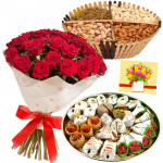 Love N Crunch - Bunch of 15 Red Roses, Assorted Dryfruits in Basket 200 gms, Kaju Mix 250 gms & Card