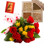 A Lovely Combo - Bunch of 15 Red & Yellow Roses, Assorted Dryfruits in Box 200 gms & Card