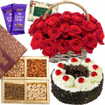 Present for You - Basket of 15 Red Roses, Assorted Dryfruits in Box 200 gms, Black Forest Cake 1/2 kg, 2 Dairy Milk & Card