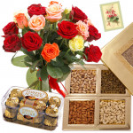 For You Always - 12 Mix Roses Bunch, Assorted Dryfruits in Box 200 gms, Ferrero Rocher 16 pcs & Card