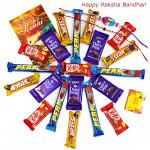 Choco Fills - 5 Dairy Milk, 5 Five Star, 5 Kit Kat, 5 Perk with 2 Rakhi and Roli-Chawal