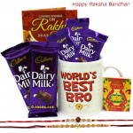 Mug N Choco - World's Best Bro Mug, 5 Dairy Milk with 2 Rakhi and Roli-Chawal