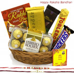 Tempting Treat - Ferrero Rocher 16 Pcs, Temptations, Bourneville, Snicker, Toblerone, Basket with 2 Rakhi and Roli-Chawal