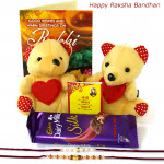 Small Silk - 2 Small Teddy, Dairy Milk Silk with 2 Rakhi and Roli-Chawal