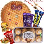 Choco Time - Ferrero Rocher 16 pcs, 2 Dairy Milk, 2 Kit Kat, 2 Perk, Puja Thali (O) with 2 Rakhi and Roli-Chawal