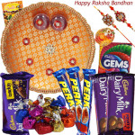 Handcrafted - 2 Dairy Milk Fruit & Nut, Dairy Milk Crackle, 3 Perk, Gems, Hand Made Chocolate 100 gms, Puja Thali (O) with 2 Rakhi and Roli-Chawal