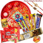 Made For You - Ferrero Rocher 4 pcs, 2 Five Star, 2 Perk, Snicker, 2 Chocopie, Meenakari Thali 6 inch with 2 Rakhi and Roli-Chawal