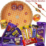 Choco Extraveganza - Dairy Milk Silk, Dairy Milk Fruit & Nut, Dairy Milk Crackle, Dairy Milk Roast Almond, 2 Five Star, Kitkat, Snickers, Puja Thali (O) with 2 Rakhi and Roli-Chawal