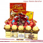Delicacy for Life - Ferrero Rocher 4 Pcs, Assorted Truffle Chocolates 100 gms, Decorative Thali with 2 Rakhi and Roli-Chawal