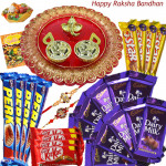 Festive Sweetness - 10 Dairy Milk, 4 Five Star, 4 Kit Kat, 4 Perk, Designer Ganesh Thali with 2 Rakhi and Roli-Chawal