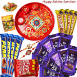 Festive Sweetness - 10 Dairy Milk, 4 Five Star, 4 Kit Kat, 4 Perk, Meenakari Thali with 2 Rakhi and Roli-Chawal